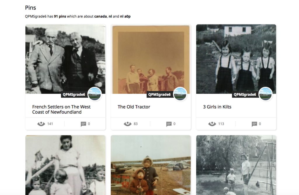 Screenshot of Grade 6's pins on Historypin.