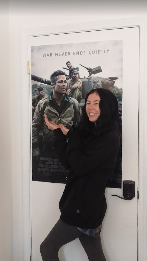 Kayly posing with Brad Pitt (in Fury), in our US office.