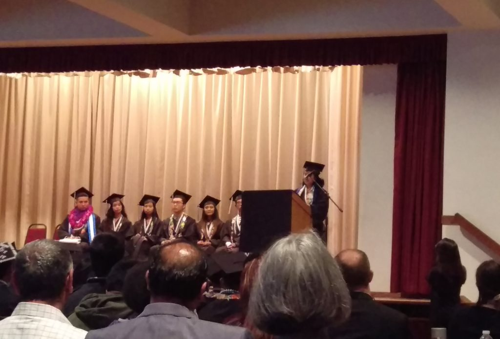 Gilda speaking at International's graduation ceremony this past May.
