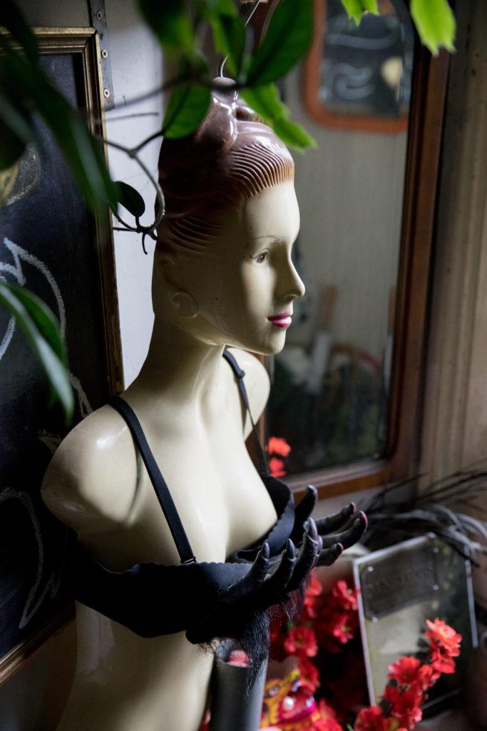 Mannequin with primate bra