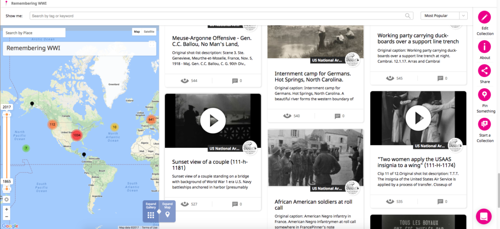 A screenshot of photos and film clips already mapped in Historypin's Remembering WWI