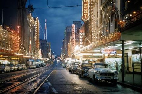 Photograph of Queens Street at night, Brisbane, 1959.