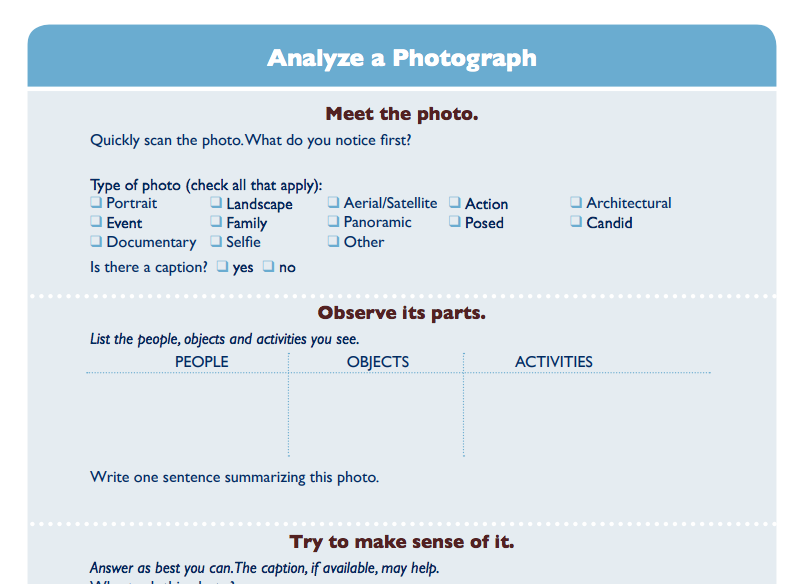 Screenshot of photo document analysis worksheet from NARA
